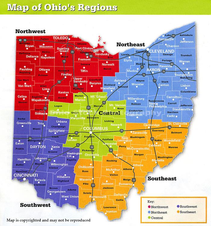 Our Ohio stock photos are organized using this map showing Ohio divided into regions. The map also names each county in Ohio and a major city in each county.<br /> <br /> NORTHWEST OHIO COUNTIES: <br /> Allen, Auglaize, Crawford, Defiance, Erie, Fulton, Hancock, Hardin, Henry, Huron, Lucas, Mercer, Ottawa, Paulding, Putnam, Sandusky, Seneca, Shelby, Van Wert, Williams, Wood, Wyandot.<br /> <br /> NORTHEAST OHIO COUNTIES:<br /> Ashland, Ashtabula, Carroll, Columbiana, Coshocton, Cuyahoga, Geauga, Harrison, Holmes, Jefferson, Lake, Lorain, Mahoning, Medina, Portage, Richland, Stark, Summit, Trumbull, Tuscarawas, Wayne.<br /> <br /> CENTRAL OHIO COUNTIES:<br /> Delaware, Fairfield, Franklin, Knox, Licking, Logan, Madison, Marion, Morrow, Pickaway, Union.<br /> <br /> SOUTHWEST OHIO COUNTIES:<br /> Adams, Brown, Butler, Champaign, Clark, Clermont, Clinton, Darke, Fayette, Greene, Hamilton, Highland, Miami, Montgomery, Preble, Warren.<br /> <br /> SOUTHEAST OHIO COUNTIES:<br /> Athens, Belmont, Gallia, Guernsey, Hocking, Jackson, Lawrence, Meigs, Monroe, Morgan, Muskingum, Noble, Perry, Pike, Ross, Scioto, Vinton, Washington.