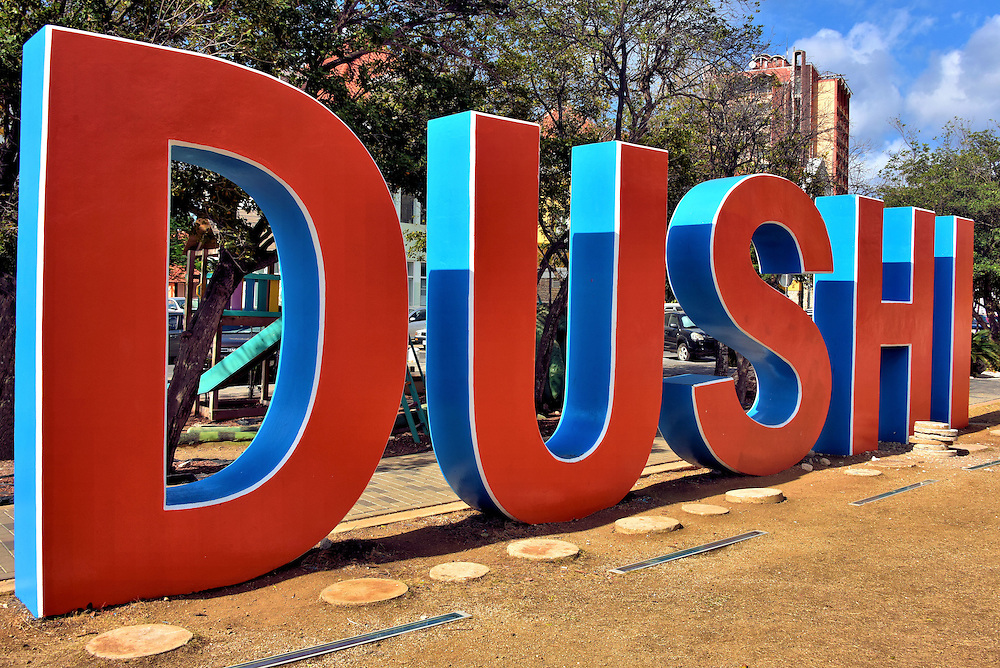 Dushi Sign in Punda, Eastside of Willemstad, Curaçao  <br />