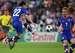 Danijel Pranjic and Ivan Rakitic of Croatia during the UEFA EURO 2008 Quarter-Final soccer match between Croatia and Turkey at Ernst-Happel Stadium, on June 20,2008, in Wien, Austria. Turkey won after penalty shots. (Photo by Vid Ponikvar / Sportal Images)