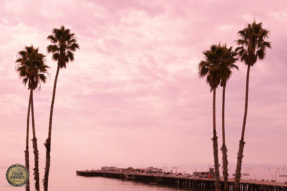 Santa Cruz Pier, California<br /> Honarable Mention in the 11th International Color Awards.<br /> <br /> Photo available as fine-art print or for licensing. <br /> <br /> For rates and options contact me at ronald@tilleman.nl<br /> <br /> https://www.werkaandemuur.nl/nl/shopwerk/Palmbomen-bij-zonsondergang-Santa-Cruz-pier-Californie-USA/310108/132