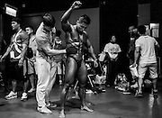 Bodybuilder gets ready prior to the 2014 IFBB International Bodybuilding & FITNESS Invitation Championship on 23 July 2014 at the Kowloon Exhibition Center in Hong Kong, China. Photo by Xaume Olleros.