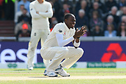 Jofra Archer of England reacts after failing to catch Steve Smith of Australia during the International Test Match 2019, fourth test, day two match between England and Australia at Old Trafford, Manchester, England on 5 September 2019.