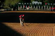 Arkansas Democrat-Gazette/BENJAMIN KRAIN 4-12-08<br /> A loader at Oaklawn brushed the track before the running of the Arkansas Derby Staurday.