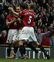 Photo: Paul Thomas.<br /> Manchester United v Aston Villa. The FA Cup. 07/01/2007.<br /> <br /> New player Henrik Larsson of Man Utd (Red 17) celebrates his first goal for Utd.