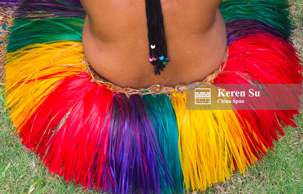 Yapese girl's grass skirt at Yap Day Festival, Yap Island, Federated States of Micronesia