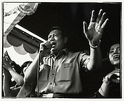 Soon to be President of Indonesia, Susilio Bambang Yudhoyono (SBY) sings for supporters at Cilincing, one of Jakarta's pooerst areas - Independence Day Jakarta Indonesia August 17 2004