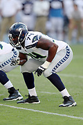 Seattle Seahawks offensive tackle George Fant (74) gets set during the 2017 NFL week 1 preseason football game against the against the Los Angeles Chargers, Sunday, Aug. 13, 2017 in Carson, Calif. The Seahawks won the game 48-17. (©Paul Anthony Spinelli)