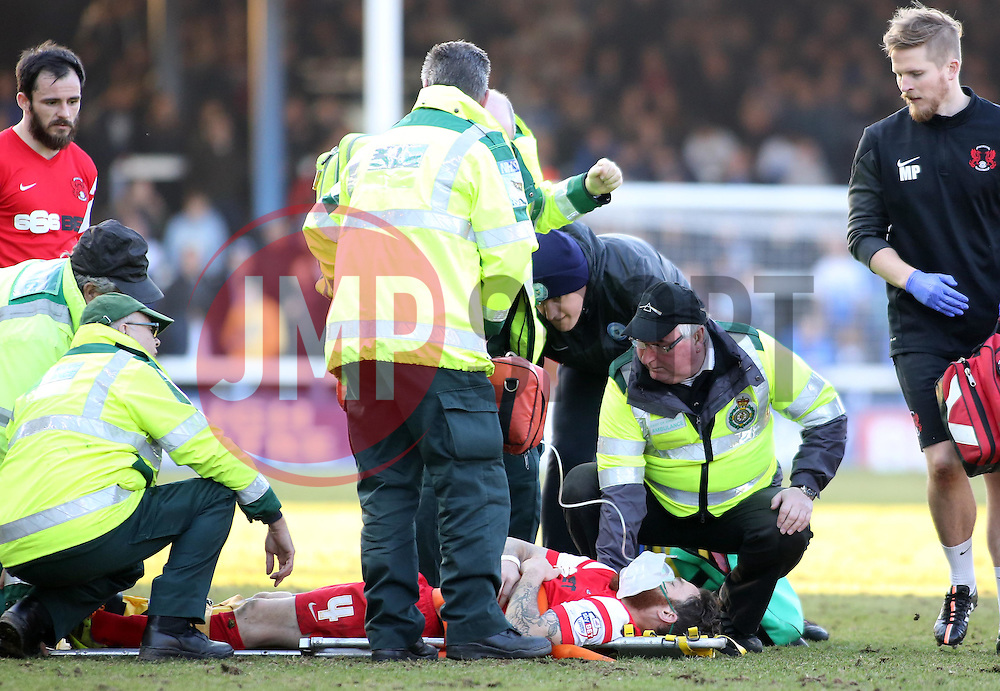 Leyton Orient's Romain Vincelot is treated and receives gas and air after injuring his knee - Photo mandatory by-line: Joe Dent/JMP - Mobile: 07966 386802 - 07/03/2015 - SPORT - Football - Peterborough - ABAX Stadium - Peterborough United v Leyton Orient - Sky Bet League One