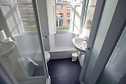 Sunlight streaming into washroom showing basin, toilet and shower