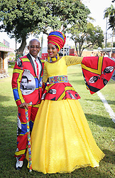 07062018 (Durban) Lindo and Musa Mathebula showing off her outfit at the Vodacom Durban July flowing like water among the massive crowd expected at Greyville Racecourse in Durban for the running of the R4.25 million, Grade 1, Vodacom Durban July, the greatest racing, fashion and entertainment extravaganza on the African continent.<br /> Picture: Motshwari Mofokeng/African News Agency/ANA