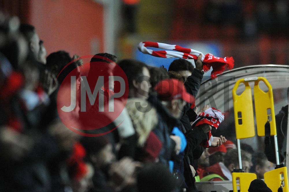 A Bristol City scarf is waved by a Bristol City fan - Photo mandatory by-line: Dougie Allward/JMP - Mobile: 07966 386802 - 10/02/2015 - SPORT - Football - Bristol - Ashton Gate - Bristol City v Port Vale - Sky Bet League One