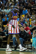"05 May 2006: Kevin ""Special K"" Daley hikes up his shorts at the Harlem Globetrotters vs the New York Nationals at the Sulivan Arena in Anchorage Alaska during their 80th Anniversary World Tour."