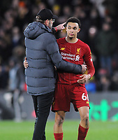 Football - 2019 / 2020 Premier League - Watford vs. Liverpool<br /> <br /> Liverpool manager, Jurgen Klopp with Trent Alexander - Arnold after the match, at Vicarage Road.<br /> <br /> COLORSPORT/ANDREW COWIE