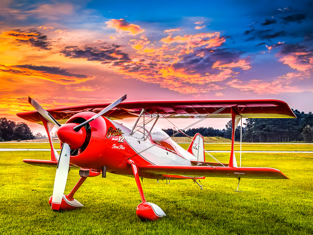 Pitts Model 12, photographed at Habersham County Airport in Cornelia, Georgia.  <br /> <br /> Created by aviation photographer John Slemp of Aerographs Aviation Photography. Clients include Goodyear Aviation Tires, Phillips 66 Aviation Fuels, Smithsonian Air & Space magazine, and The Lindbergh Foundation.  Specialising in high end commercial aviation photography and the supply of aviation stock photography for advertising, corporate, and editorial use.