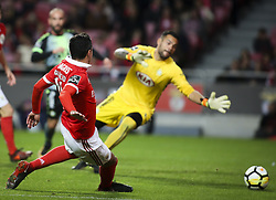 November 26, 2017 - Lisbon, Portugal - Benfica's defender Andre Almeida scores a goal during the Portuguese League  football match between SL Benfica and Vitoria Setubal at Luz  Stadium in Lisbon on November 26, 2017. (Credit Image: © Carlos Costa/NurPhoto via ZUMA Press)