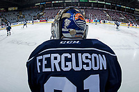 KELOWNA, BC - FEBRUARY 02:  Dylan Ferguson #31 of the Kamloops Blazers stands at the bench during warm up against the Kelowna Rockets at Prospera Place on February 2, 2019 in Kelowna, Canada. (Photo by Marissa Baecker/Getty Images)