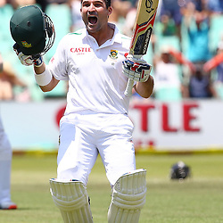 Durban South Africa - December 28, Dean Elgar celebrates his century during the match between South Africa  and England day 3 of the 1st test , 28 December 2015. (Photo by Steve Haag) images for social media must have consent from Steve Haag