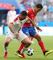 SAMARA, June 17, 2018  Celso Borges (R) of Costa Rica vies with Aleksandar Mitrovic of Serbia during a group E match between Costa Rica and Serbia at the 2018 FIFA World Cup in Samara, Russia, June 17, 2018. (Credit Image: © Ye Pingfan/Xinhua via ZUMA Wire)