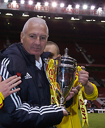 Manchester, England - Thursday, April 26, 2007: Liverpool Director of Youth, who will retire in the summer, celebrates with the trophy after beating Manchester United on penalties to win the FA Youth Cup for the second successive year during the FA Youth Cup Final 2nd Leg at Old Trafford. (Pic by David Rawcliffe/Propaganda)