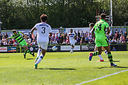 Forest Green Rovers Christian Doidge(9) shoots at goal scores a goal 1-0 during the Vanarama National League Play Off second leg match between Forest Green Rovers and Dagenham and Redbridge at the New Lawn, Forest Green, United Kingdom on 7 May 2017. Photo by Shane Healey.