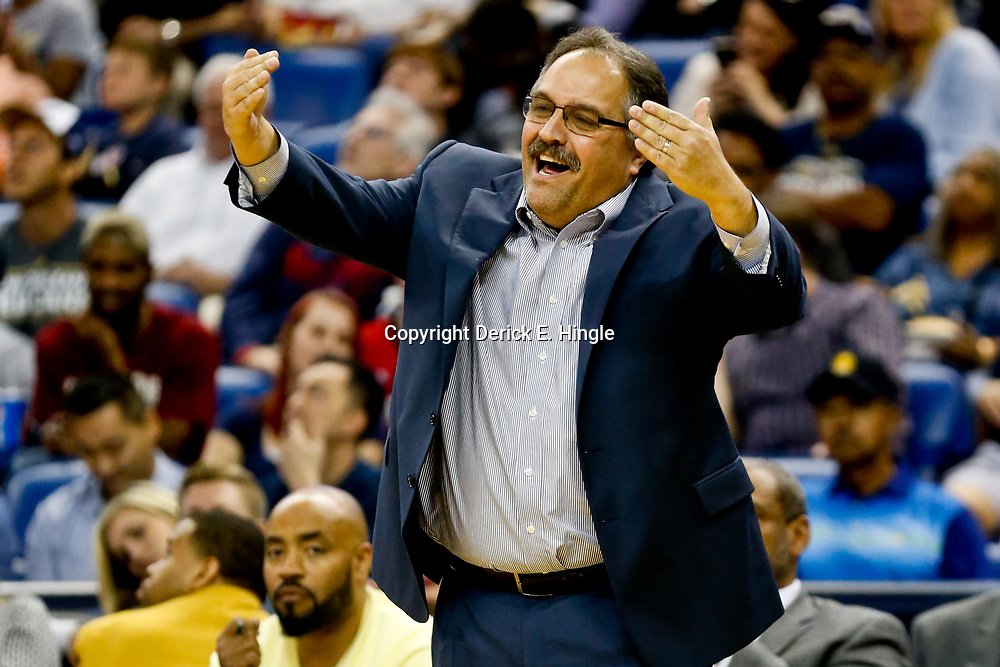 Mar 1, 2017; New Orleans, LA, USA; Detroit Pistons head coach Stan Van Gundy against the New Orleans Pelicans during the second half of a game at the Smoothie King Center. The Pelicans defeated the Pistons 109-86. Mandatory Credit: Derick E. Hingle-USA TODAY Sports