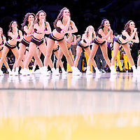21 March 2014: The Laker Girls perform during the Washington Wizards 117-107 victory over the Los Angeles Lakers at the Staples Center, Los Angeles, California, USA.