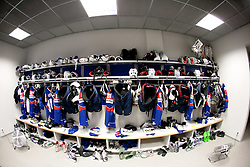 Equipment in Slovenian wardrobe prior to the ice-hockey match between Slovenia and Latvia of IIHF 2011 World Championship Slovakia, on May 5, 2011 in Orange Arena, Bratislava, Slovakia.  (Photo By Vid Ponikvar / Sportida.com)
