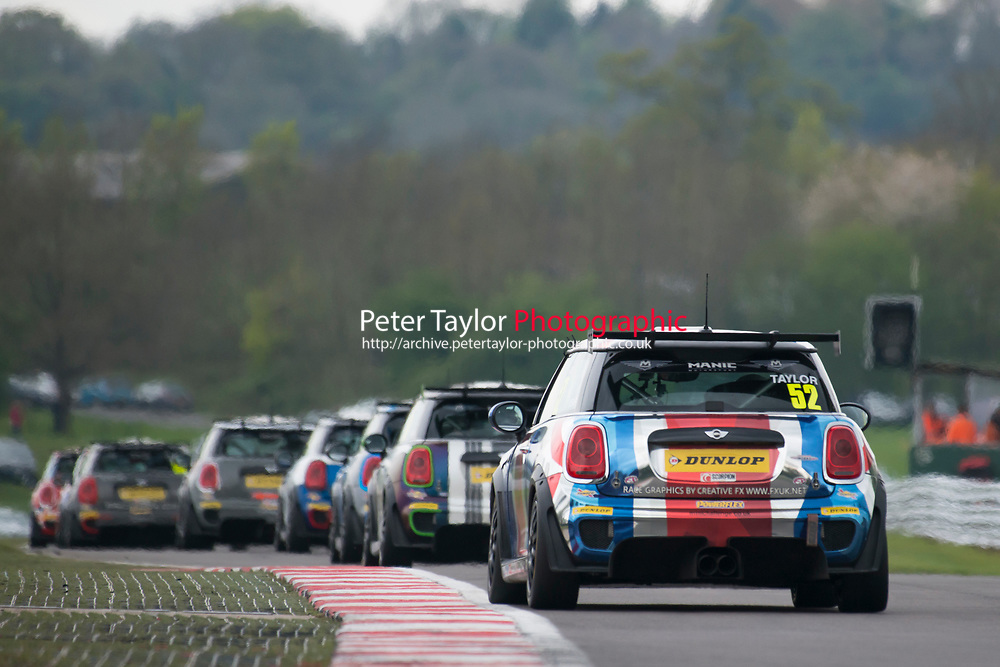 #52 James TAYLOR MINI JCW  during MINI Challenge - JCW  as part of the BRDC British F3/GT Championship Meeting at Oulton Park, Little Budworth, Cheshire, United Kingdom. April 17 2017. World Copyright Peter Taylor/PSP.