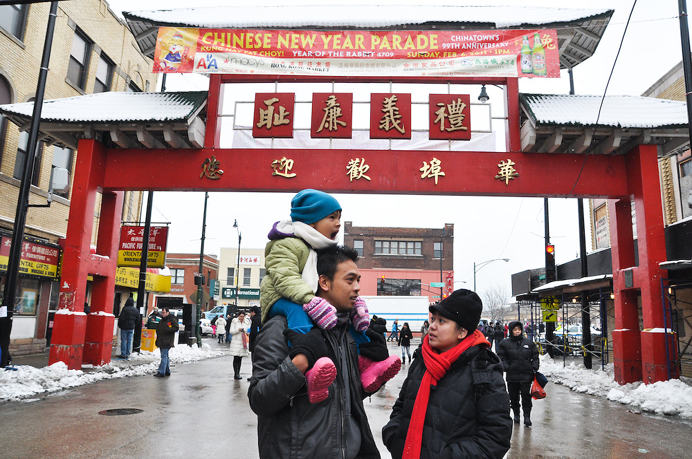 Family under Chinatown gate, Chicago, February 6th, 2011