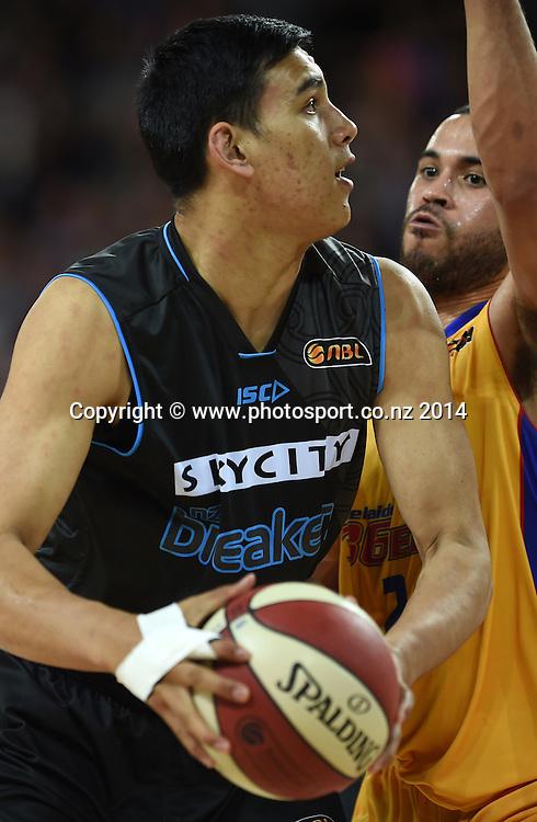 Tai Wynyard. SkyCity Breakers v Adelaide 36ers. 2014/15 ANBL Basketball Season. Vector Arena, Auckland, New Zealand. Friday 17 October 2014. Photo: Andrew Cornaga / www.photosport.co.nz
