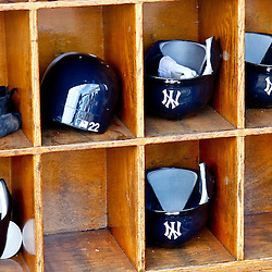 March 4, 2012; Tampa Bay, FL, USA; A general view of New York Yankees player batting helmets during spring training game against the Philadelphia Phillies at George M. Steinbrenner Field. Mandatory Credit: Derick E. Hingle-US PRESSWIRE