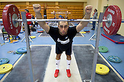 Arsen Kasabijew from Poland (Gornik Polkowice; category 94 kg) during training session two weeks before weightlifting IWF World Championships Wroclaw 2013 at the Olympic Sports Centre in Spala on October 08, 2013.<br /> <br /> Poland, Warsaw, September 16, 2013<br /> <br /> Picture also available in RAW (NEF) or TIFF format on special request.<br /> <br /> For editorial use only. Any commercial or promotional use requires permission.<br /> <br /> Mandatory credit:<br /> Photo by &copy; Adam Nurkiewicz / Mediasport