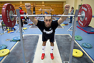 Arsen Kasabijew from Poland (Gornik Polkowice; category 94 kg) during training session two weeks before weightlifting IWF World Championships Wroclaw 2013 at the Olympic Sports Centre in Spala on October 08, 2013.<br /> <br /> Poland, Warsaw, September 16, 2013<br /> <br /> Picture also available in RAW (NEF) or TIFF format on special request.<br /> <br /> For editorial use only. Any commercial or promotional use requires permission.<br /> <br /> Mandatory credit:<br /> Photo by © Adam Nurkiewicz / Mediasport