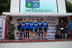 Team WNT stand on the sign-on podium before Stage 2 of the Emakumeen Bira - a 90.8 km road race, starting and finishing in Markina Xemein on May 18, 2017, in Basque Country, Spain. (Photo by Balint Hamvas/Velofocus)