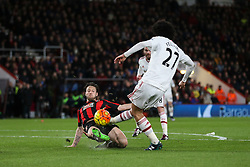 Harry Arter of Bournemouth blocks a shot from Marouane Fellaini of Manchester United - Mandatory by-line: Jason Brown/JMP - Mobile 07966 386802 12/12/2015 - SPORT - FOOTBALL - Bournemouth, Vitality Stadium - AFC Bournemouth v Manchester United - Barclays Premier League