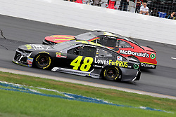 July 22, 2018 - Loudon, NH, U.S. - LOUDON, NH - JULY 22: (48) Jimmie Johnson and (1) Jamie McMurray in turn 4 during the Monster Energy Cup Series Foxwoods Resort Casino 301 race on July, 21, 2018, at New Hampshire Motor Speedway in Loudon, NH. (Photo by Malcolm Hope/Icon Sportswire) (Credit Image: © Malcolm Hope/Icon SMI via ZUMA Press)