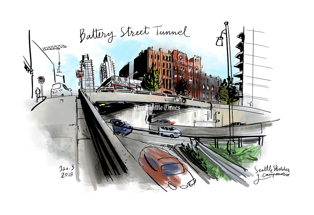 The Battery Street Tunnel sketched at the south entrance in Belltown. (Gabriel Campanario / The Seattle Times)