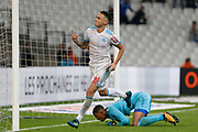 Lucas Ocampos jubilates after his goal during the French Championship Ligue 1 football match between Olympique de Marseille and Toulouse FC on September 24, 2017 at Orange Velodrome stadium in Marseille, France - Photo Philippe Laurenson / ProSportsImages / DPPI