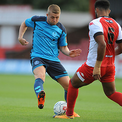 TELFORD COPYRIGHT MIKE SHERIDAN 7/8/2018 - Darryl Knights of AFC Telford gets a shot away during the National League North fixture between Kidderminster Harriers FC vs AFC Telford United.