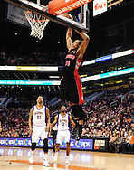 Jan. 24, 2012; Phoenix, AZ, USA; Toronto Raptors guard DeMar DeRozan (10) dunks the ball against the Phoenix Suns during the first half at the US Airways Center. Mandatory Credit: Jennifer Stewart-US PRESSWIRE.