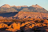 The La Sal Mountain Range as seen from Slickrock trail outside Moab, Utah, USA.