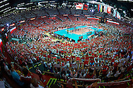 General view while volleyball final match between Brazil and Poland during the 2014 FIVB Volleyball World Championships at Spodek Hall in Katowice on September 21, 2014.<br /> <br /> Poland, Katowice, September 21, 2014<br /> <br /> For editorial use only. Any commercial or promotional use requires permission.<br /> <br /> Mandatory credit:<br /> Photo by © Adam Nurkiewicz / Mediasport