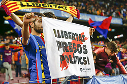 October 20, 2018 - Barcelona, Catalonia, Spain - FC Barcelona fan ask freedom during the match FC Barcelona against Sevilla FC, for the round 9 of the Liga Santander, played at Camp Nou  on 20th October 2018 in Barcelona, Spain. (Credit Image: © Mikel Trigueros/NurPhoto via ZUMA Press)