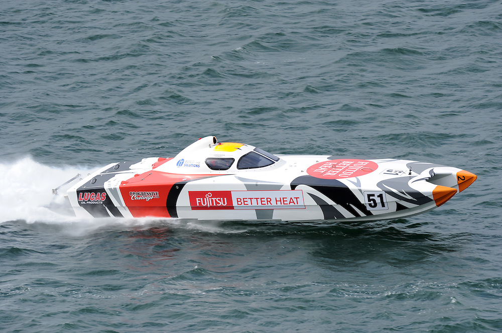 Fujitsu Better Heat with crew of Tony Coleman and Chris Hanley, winners in the Superboat class in race six of the New Zealand Offshore Powerboat Championships, Wellington Harbour, Wellington, New Zealand, Saturday, April 14, 2012. Credit:SNPA / Ross Setford