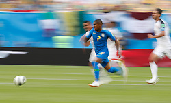 SAINT PETERSBURG, June 22, 2018  Douglas Costa (C) of Brazil breaks through with the ball during the 2018 FIFA World Cup Group E match between Brazil and Costa Rica in Saint Petersburg, Russia, June 22, 2018. Brazil won 2-0. (Credit Image: © Cao Can/Xinhua via ZUMA Wire)