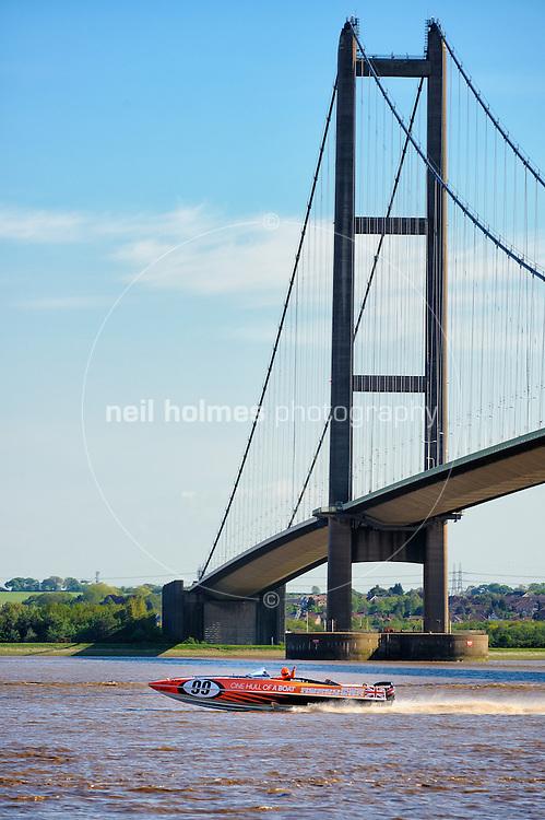 One Hull of a Boat, river trials, May 25, 2013. Hull Marina, River Humber and the Humber Bridge.