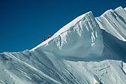 Climbers descend from summit Denali, ski expedition to travserse Denali, Mt McKinley, Alaska