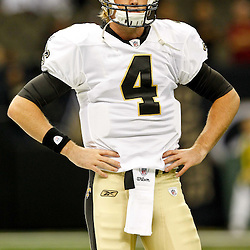 August 12, 2011; New Orleans, LA, USA; New Orleans Saints quarterback Sean Canfield (4) prior to kickoff of a preseason game against the San Francisco 49ers at the Louisiana Superdome. Mandatory Credit: Derick E. Hingle