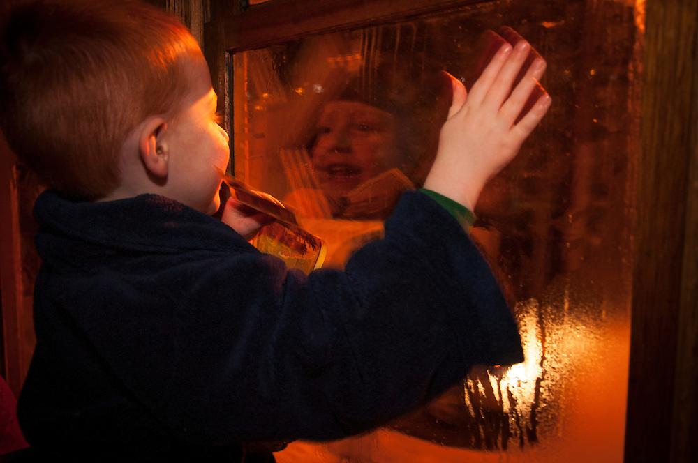 A young boy enjoys a ride on the D&SRR Polar Express.
