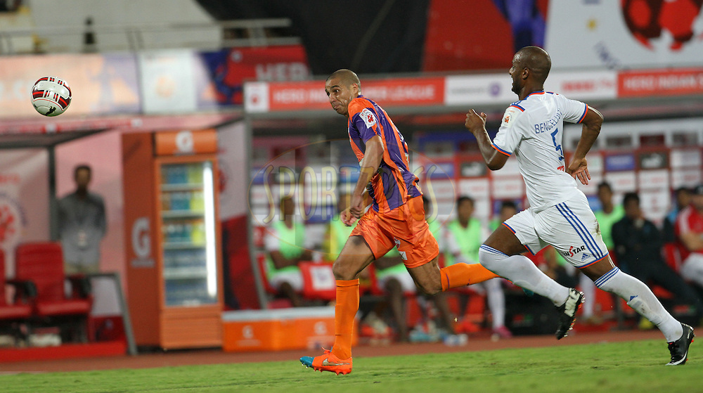 David Trezeguet of FC Pune City in action during match 14 of the Hero Indian Super League between FC Pune City and FC Goa held at the Shree Shiv Chhatrapati Sports Complex Stadium, Pune, India on the 26th October 2014.<br /> <br /> Photo by:  Vipin Pawar/ ISL/ SPORTZPICS